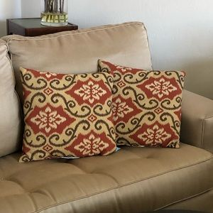 Red Brown & Beige Ikat Patterned Throw Pillows